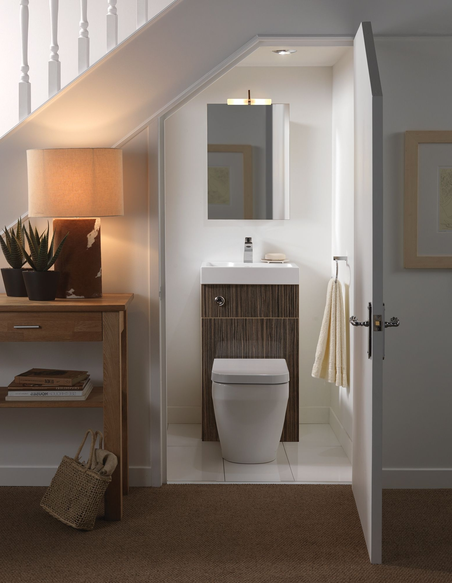 Under Stairs Bathroom With A Sink And Toilet Combined To Bathroom Under Stairs Design