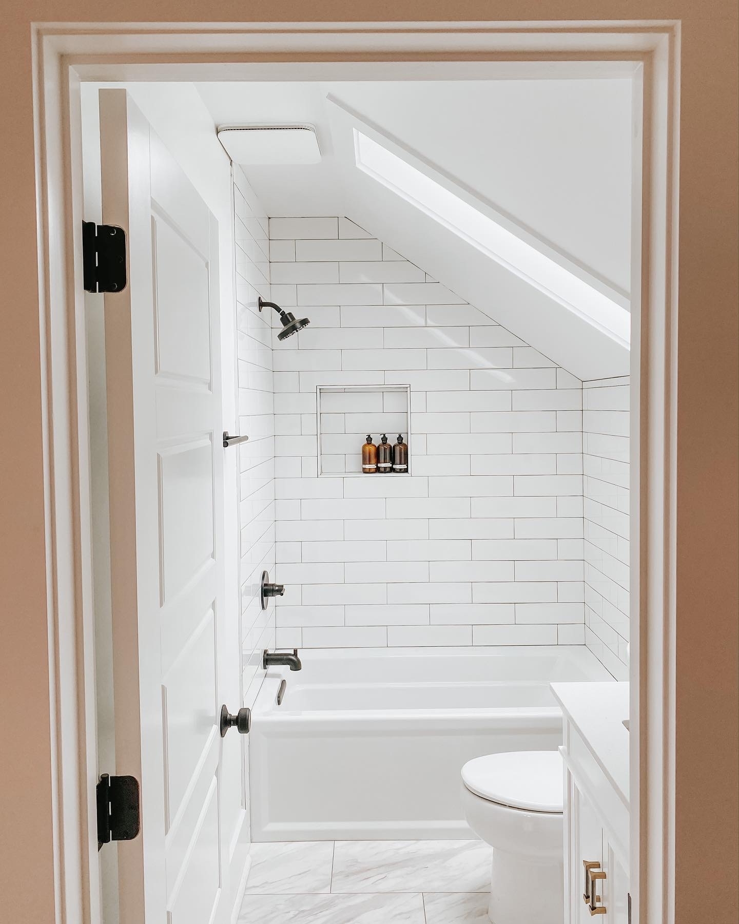 Upstairs Bathroom Reveal — Lucky Andi 20+ Small Bathroom With Sloped Ceiling Ideas
