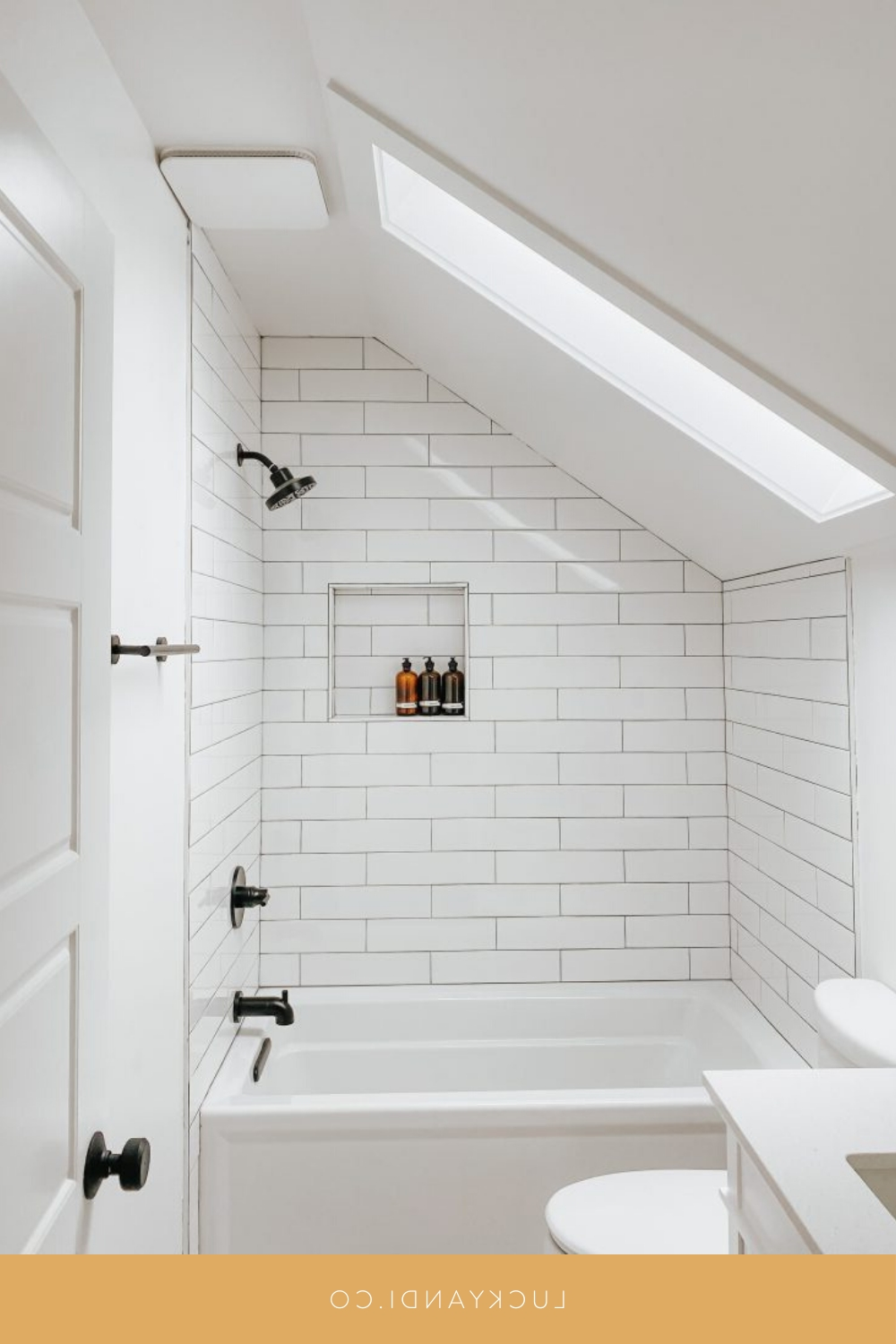 Upstairs Bathroom Reveal | Small Attic Bathroom, Sloped 20+ Small Bathroom With Sloped Ceiling Ideas