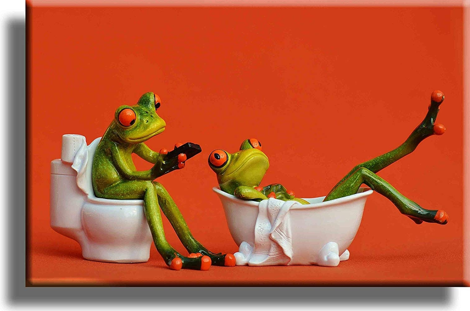 Wall Art Painting On Canvas Frog In Bathroom Wall Decor Funny Frog Painting For Livingroom Bedroom Decoration Framed Painting Ready To Hang 40+ Frog Bathroom Decorating Inspirations