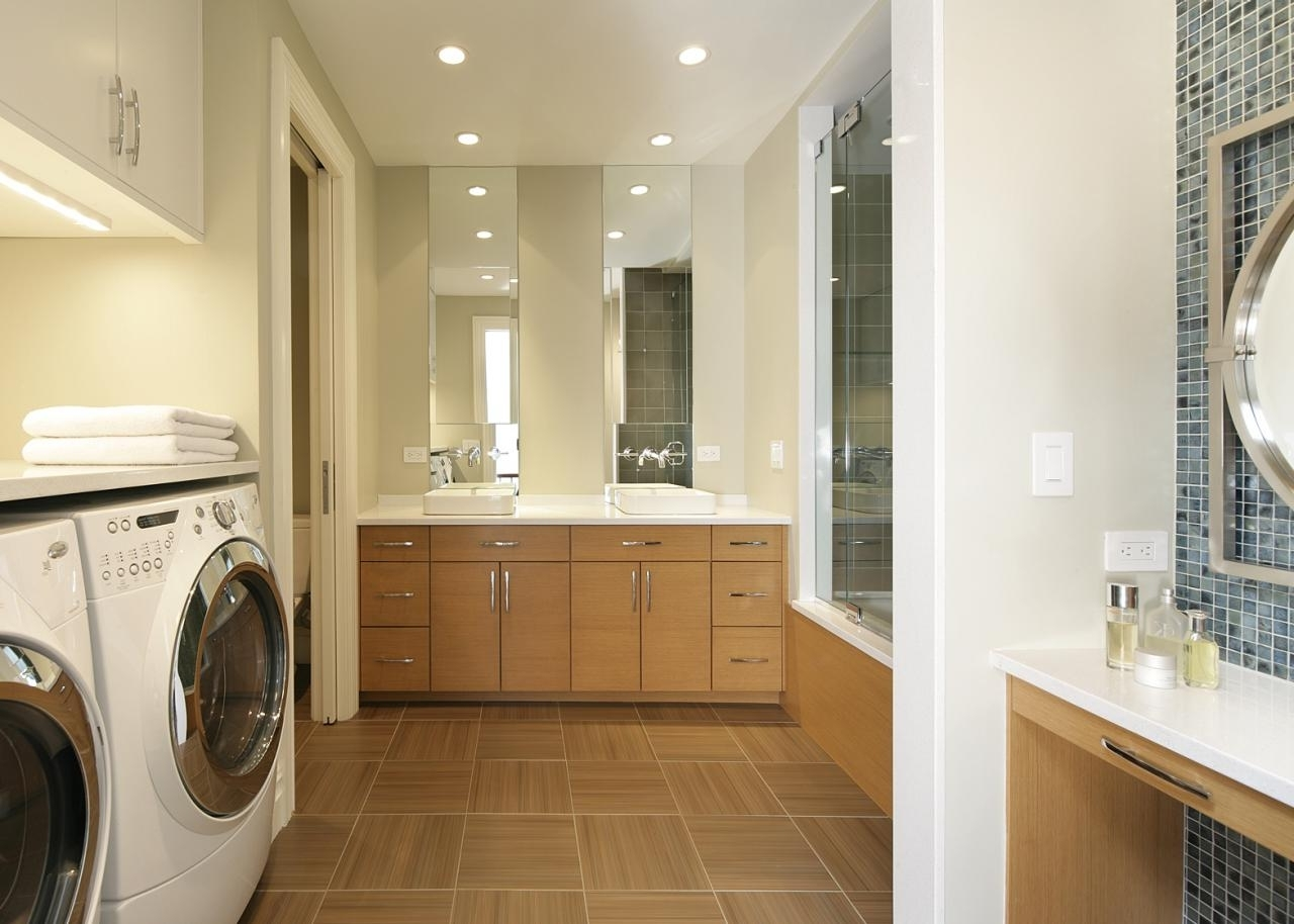 White Contemporary Bathroom And Laundry Room | Hgtv Designs For Laundry Room Bathroom Combination