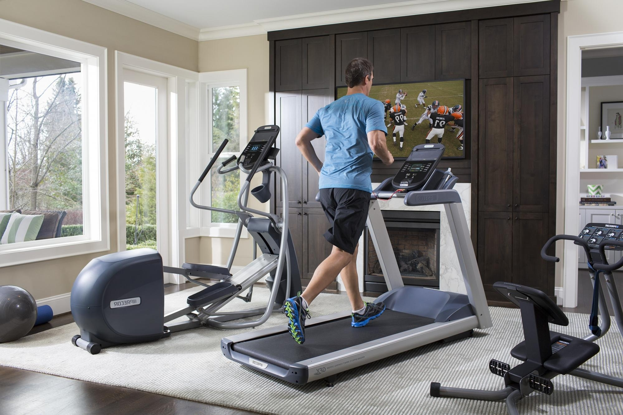 Work In Some Workout Room Right At Home Precor (Us) Decorate Living Room With Treadmill